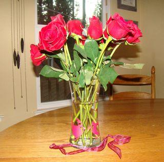 Roses in cardinal vase