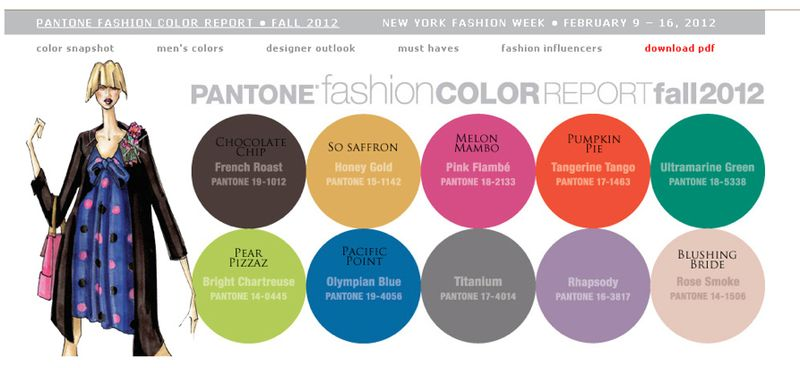 Fashion Industry Pantone Colors for Fall 2012