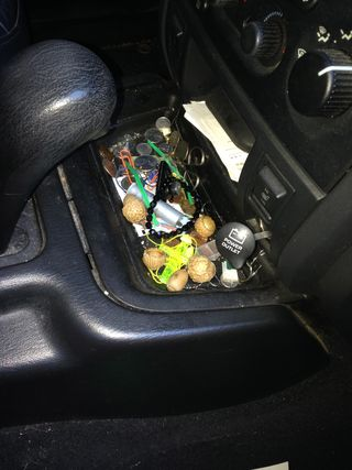 Blythe's Jeep's console area